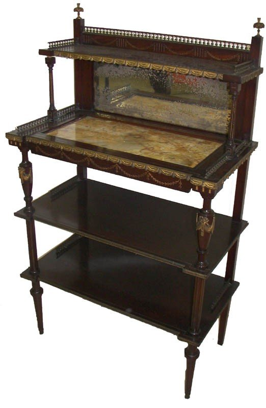 25: 19th C. rosewood marble top etagere 19th C. rosewoo
