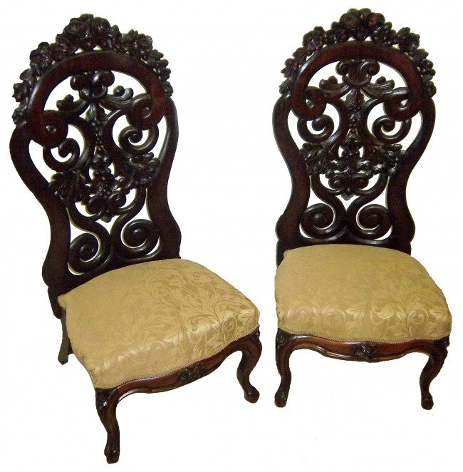 74: Pr. rosewood Belter slipper chairs Pr. of rare 19th