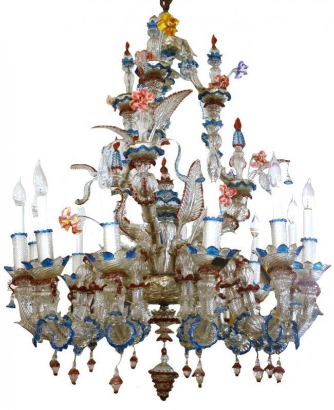 81: Monumental early 20th C. Venetian art glass chandr