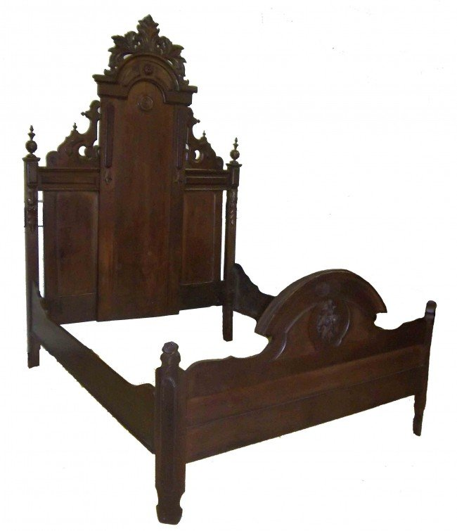 1: Renaissance walnut full size bed