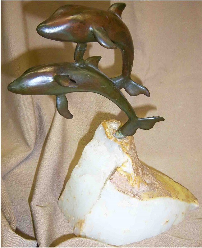 2: Early 20th C. signed bronze of dolphins