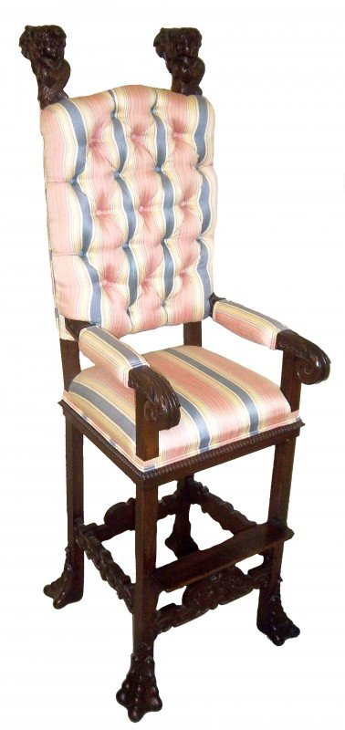 4: 19th C. carved walnut moorish style childs chair