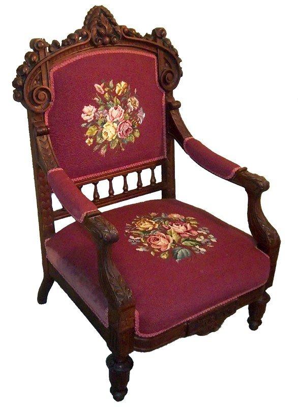 7: Large 19th C. Ren. American walnut armchair