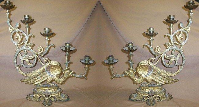 8: Pair19th C. Dore bronze Gothic American candelabr