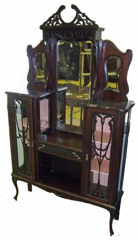 14: Art Nouveau style mahogany etagere