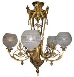 18: 19th C. bronze chandelier w/lady liberty heads