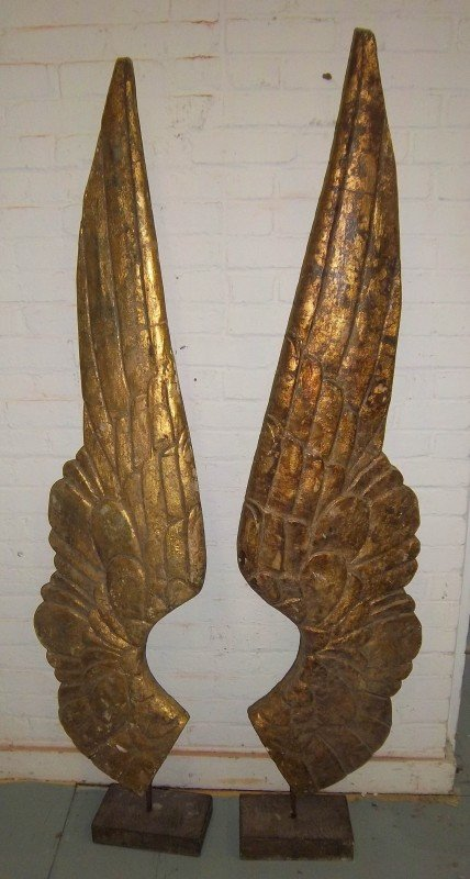 1: Pair of 20th C. detail carved wooden wings