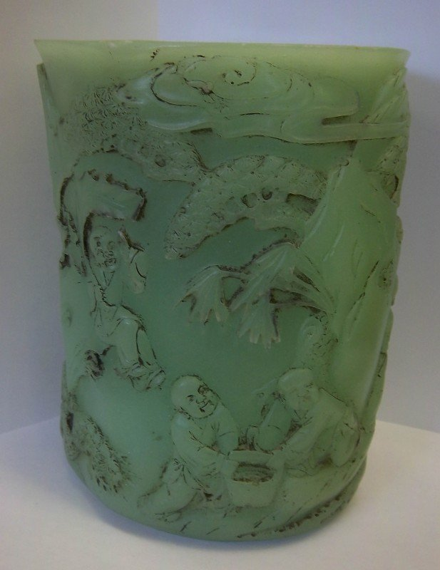 2: 19th C. Spinach Jade brush pot