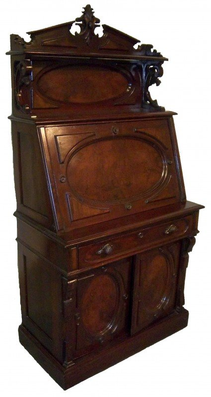 22: Ca. 1870 Renaissance drop front ladies desk