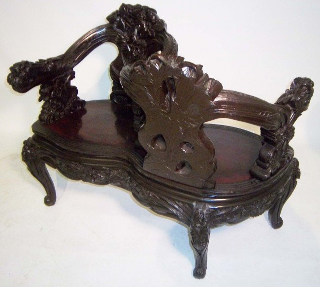 2: 19th C. antique chinese detail carved tete a tete