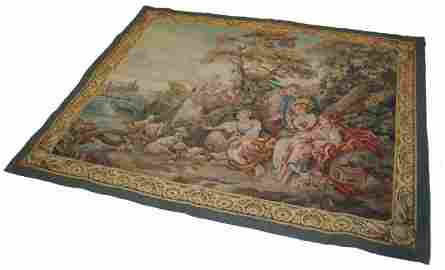130: Early 20th C.French hand made scenic tapestry