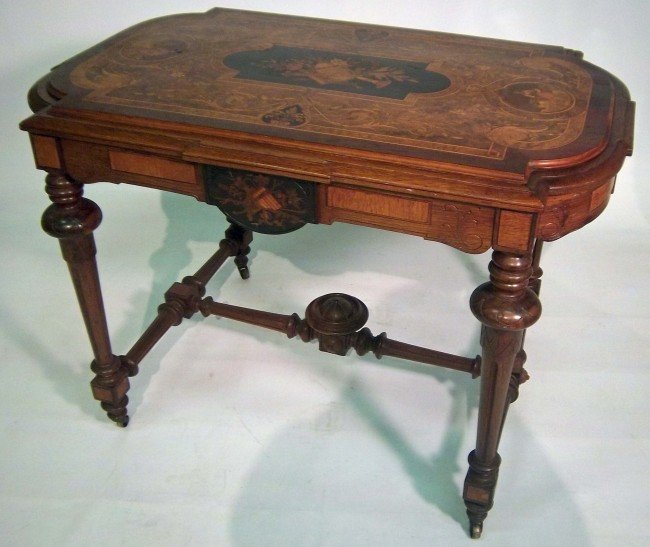 21A: C1860 American Victorian inlaid center table