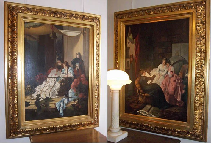 3: Pair of 19th C. large paintings of woman