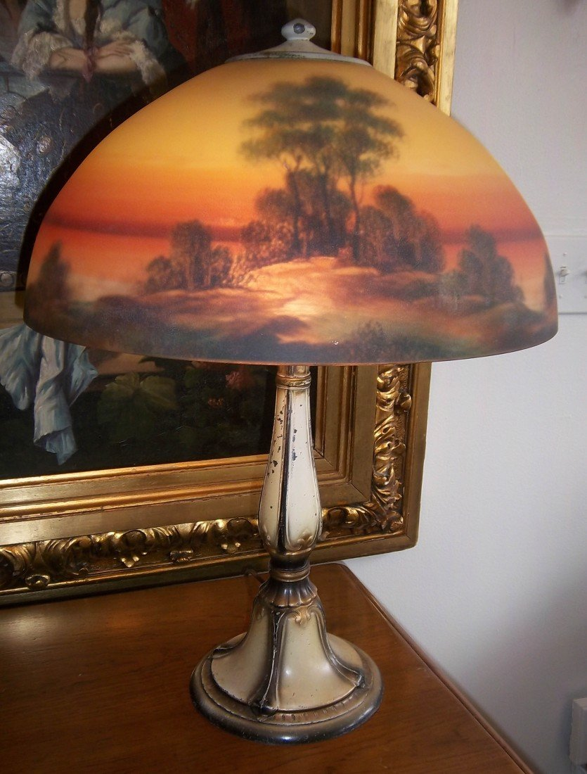 4: 20th C. reverse painted Jefferson table lamp