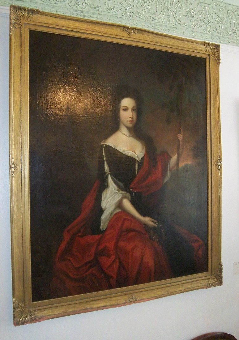 5: C1800 Large English oil painting of woman