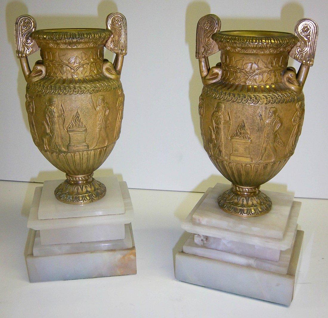 3: Pair of Egyptian Revival mini dore bronze urns