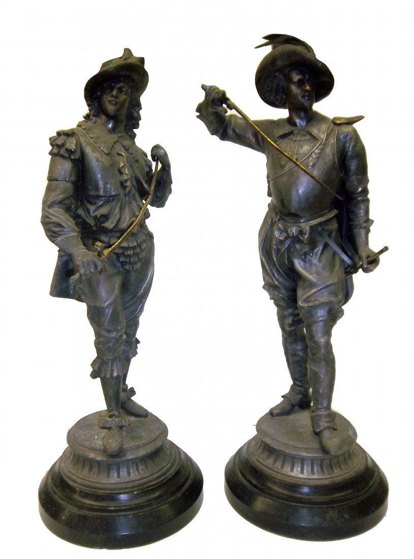 5: Pair of C1900 Spelter figural cavaliers