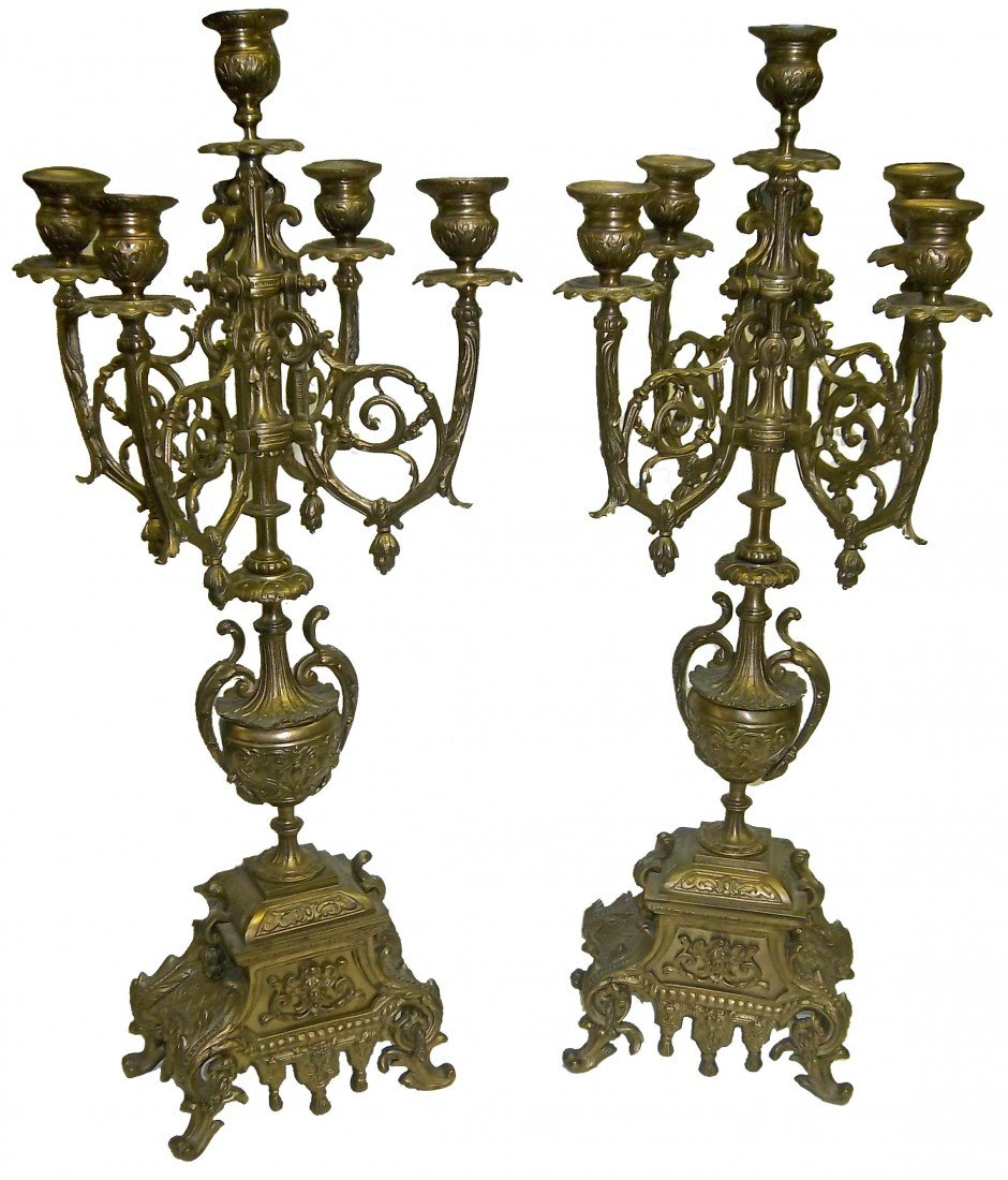 7: Pair 19th C. bronze figural candelabras