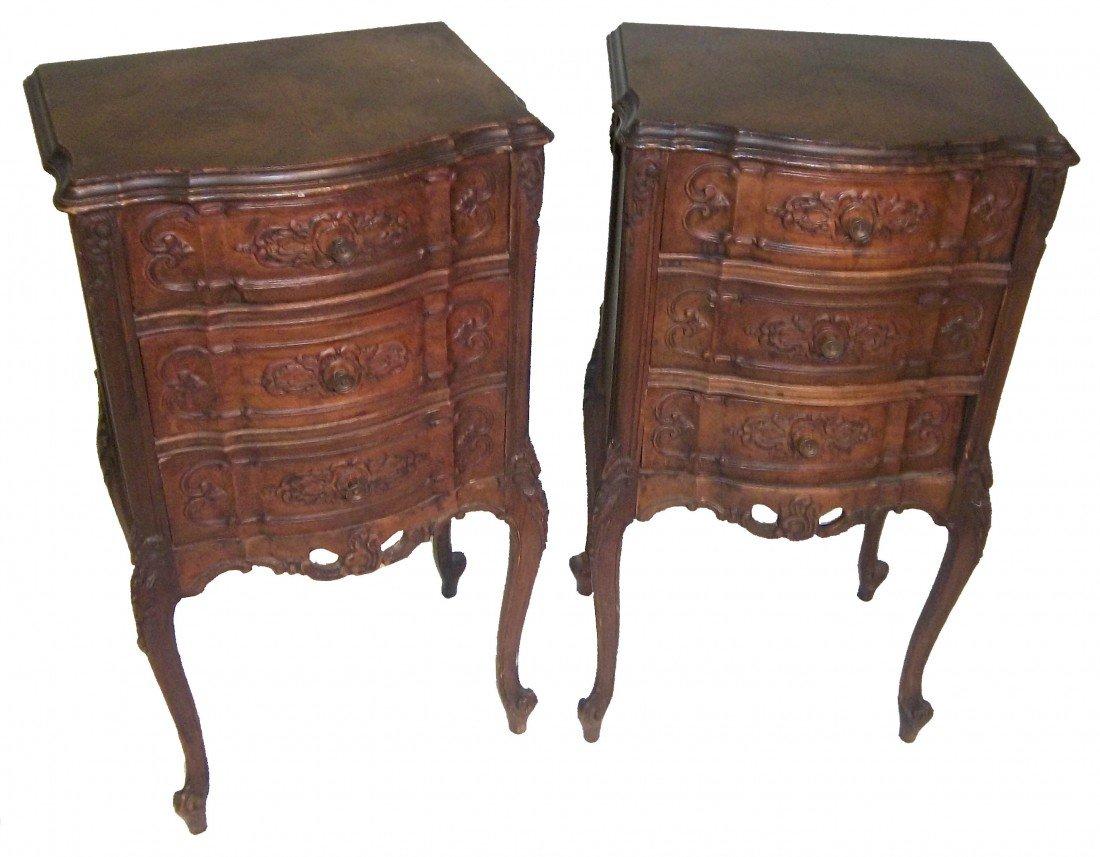 12: Pair of C1900 detail carved nightstands