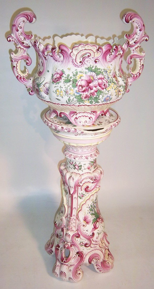 15: Ca 1920 French Marjorelle jardinere and pedestal