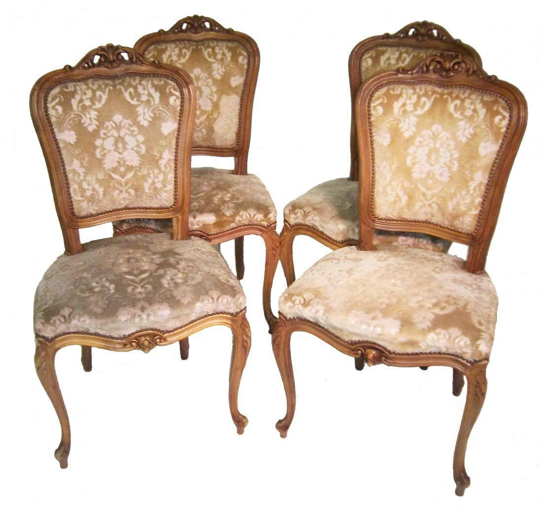 20: 4  C1900 carved walnut French side chairs