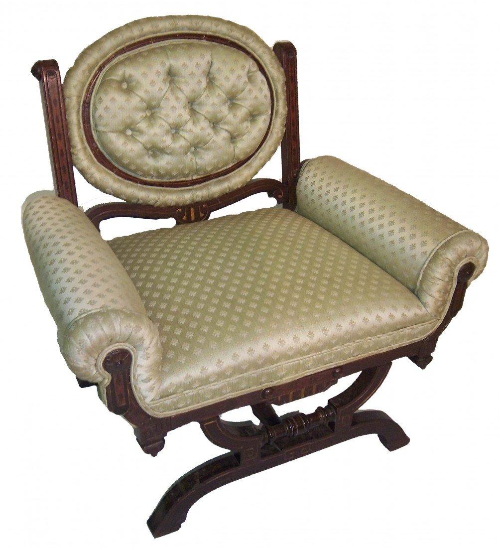 24: 19th C rosewood slipper chair attrib. P & S