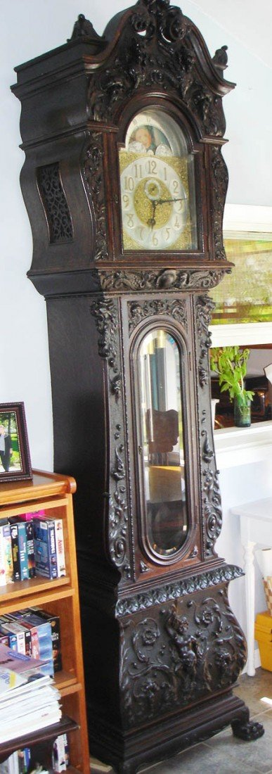 200: C1890 Oak RJ Horner 9 tube grandfather clock