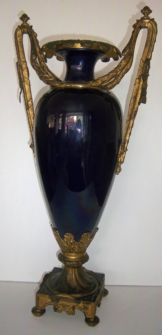 14: 19th C. French blue cobolt urn with bronze mounts