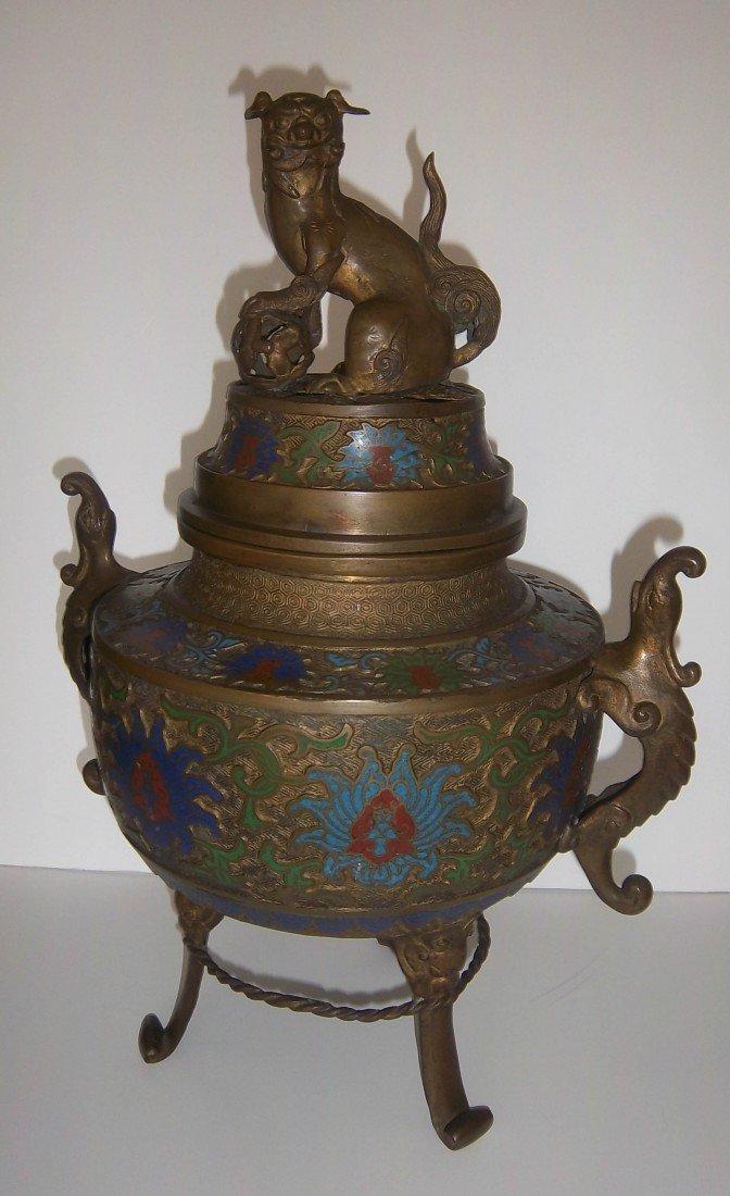19: Large Champleve Japanese urn