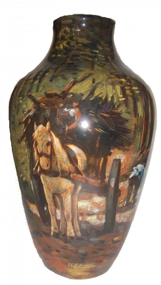 22: Rare Gouda vase with painted scene
