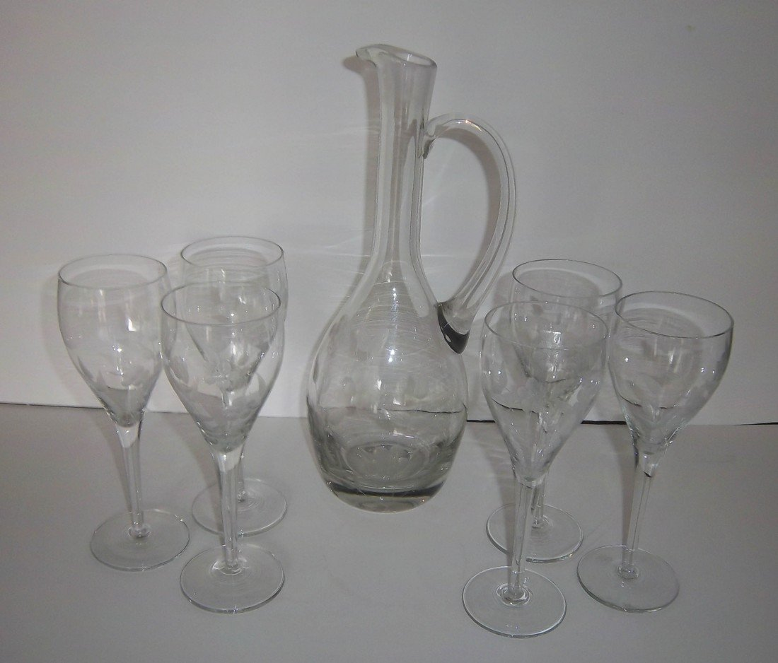 23: Late 20th C crystal etched ewer w\ 6 stem glasses