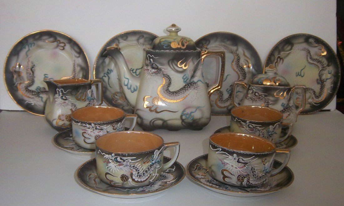 24: Ea. 20th C. Japanese tea set with dragons
