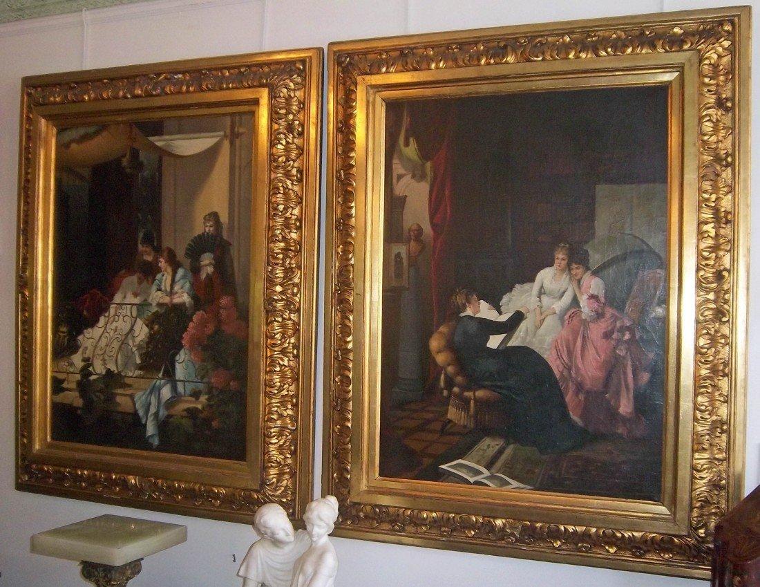 40: 19th C. large italian paintings of woman