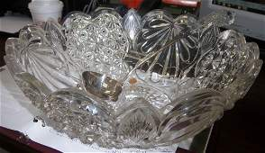 435: Rare C1900 cut glass punch bowl