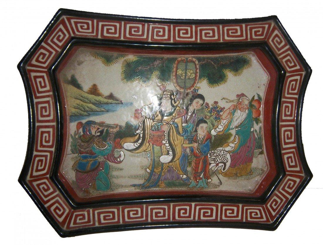 "5: 19th C. Famille Rose porcelain basin ""Wan Li"" mrk"