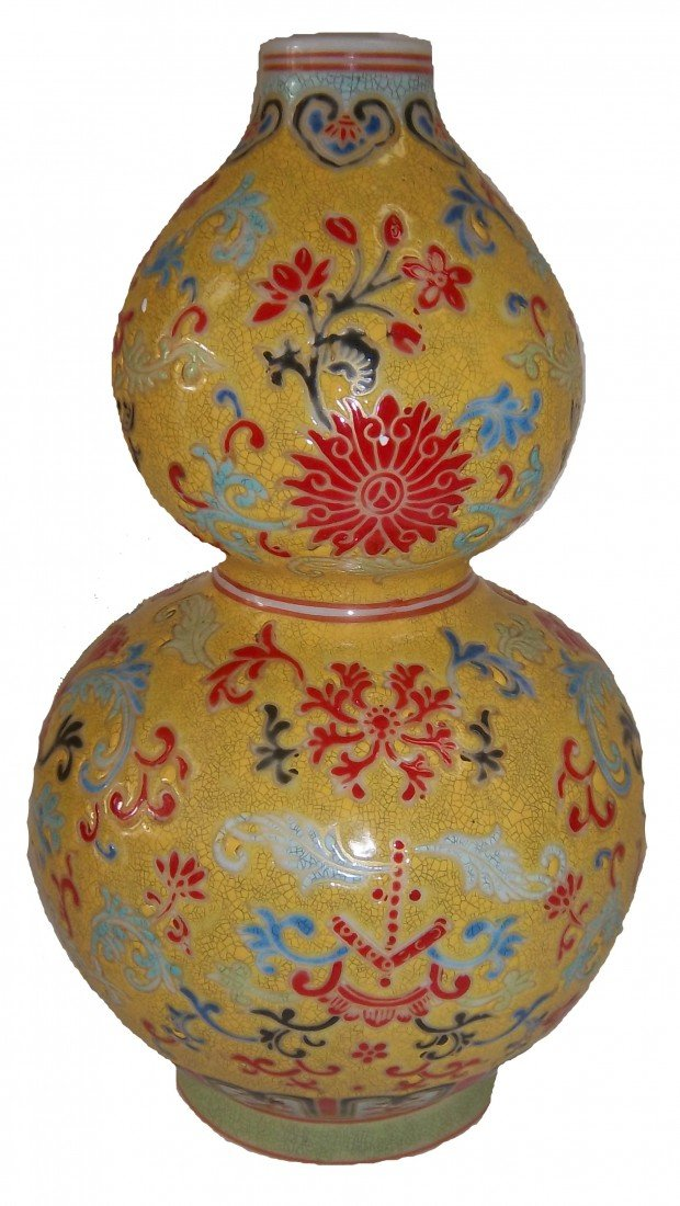 """8: 19th C. Chinese famille rose vase """"Qian Long"""""""