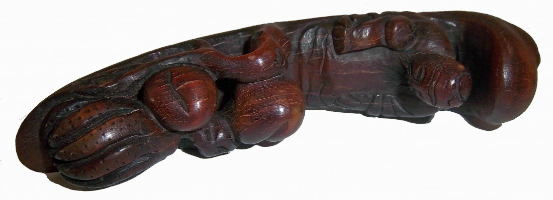 12: Old Chinese carved horn of man on boat