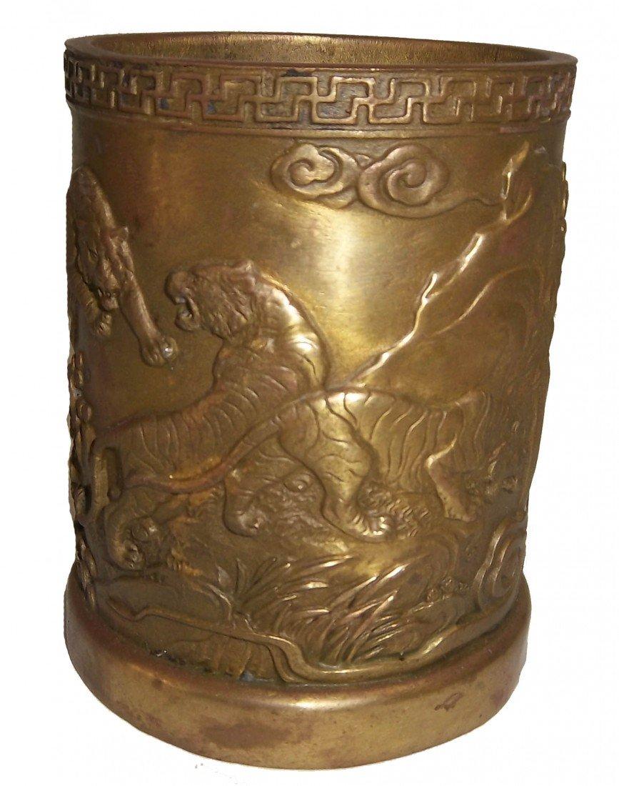19: Chinese bronze brush pot