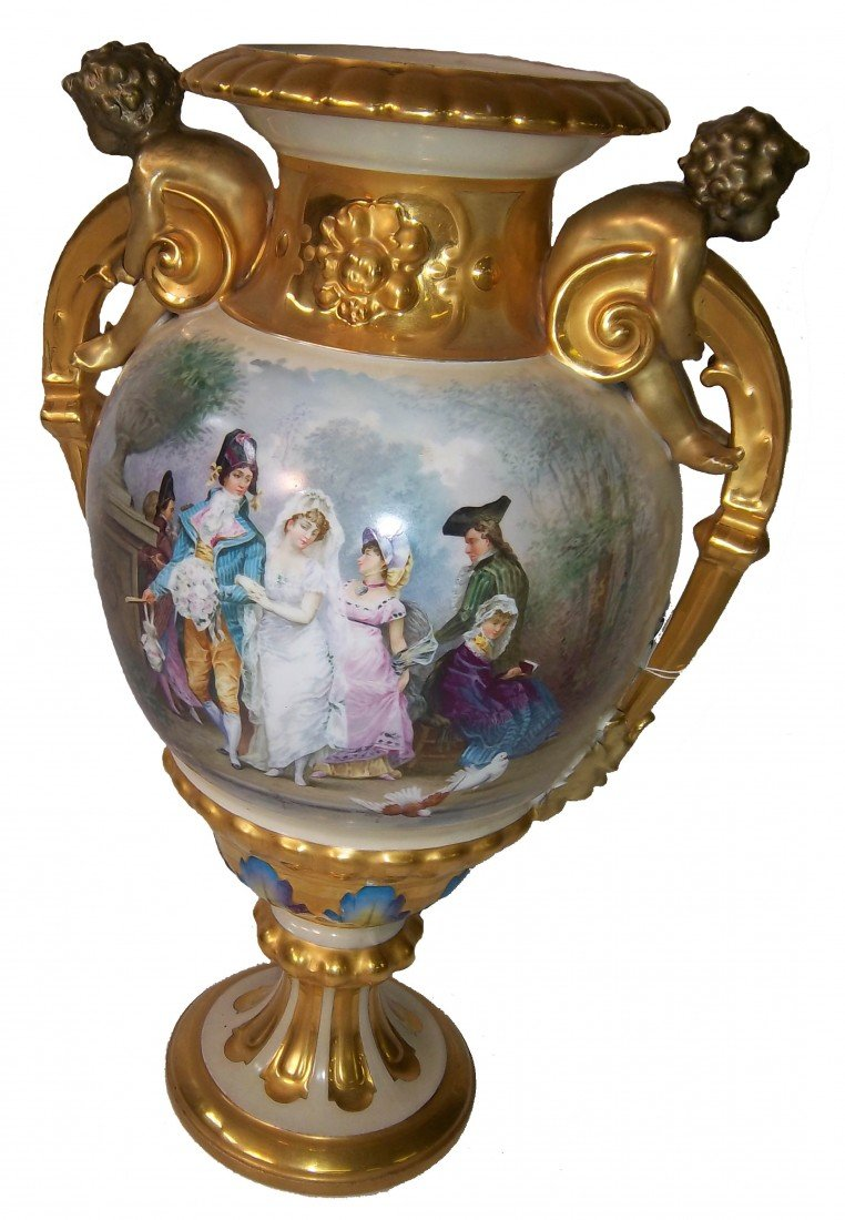 52: Large 19th C. Sevres urn w/cupid handles