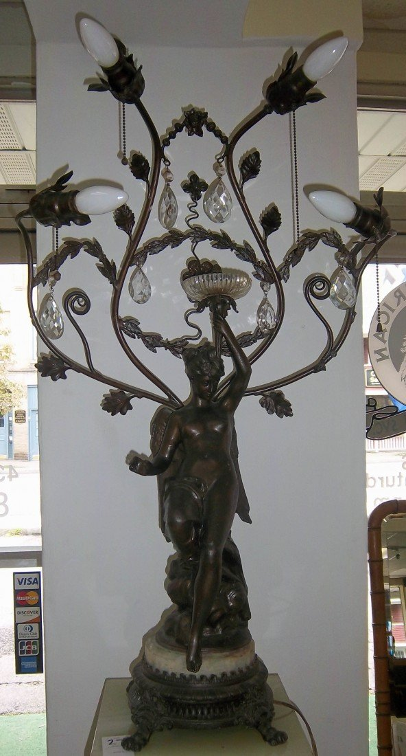 57: Ca. 1900 spelter winged lady newel post lamp