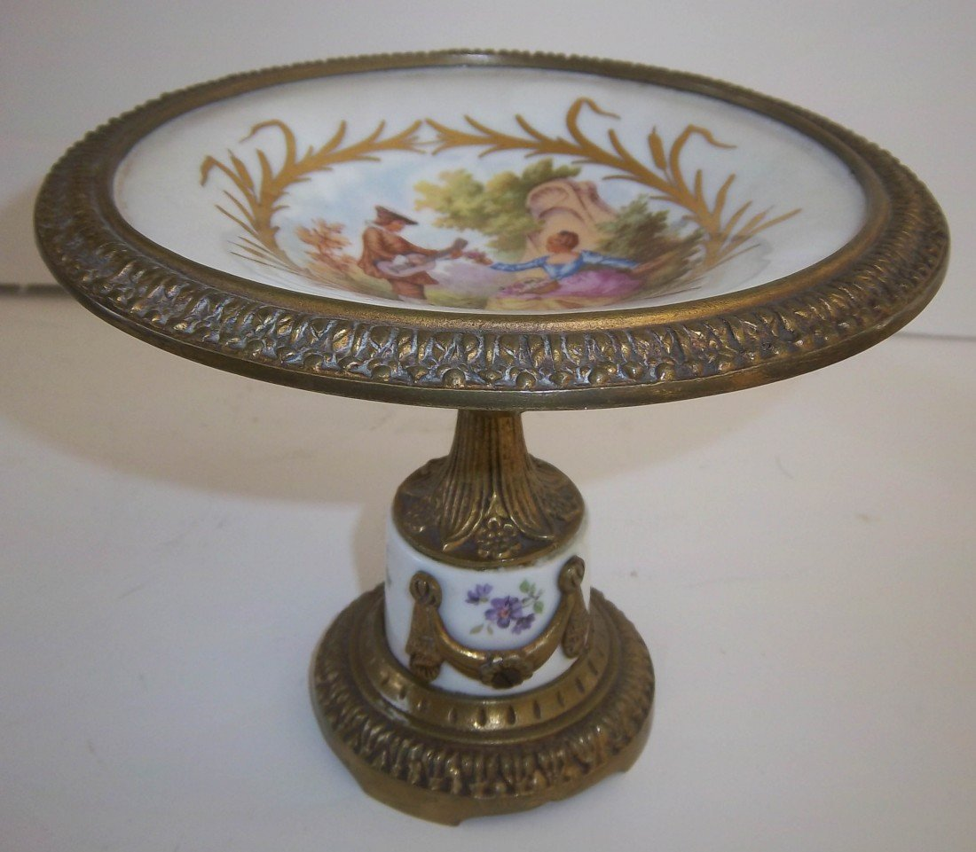 60: Bronze mounted Sevres card tray