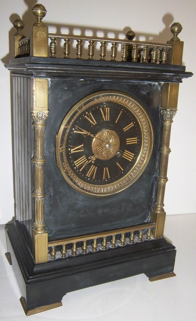 69: Aesthetic marble and bronze mantle clock