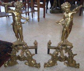 Pr. Ca. 1900 Bronze Andirons W/cherubs,dolphins