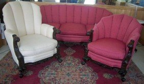 Ca.1900 American Carved Mahogany 3 Pc. Parlor Set