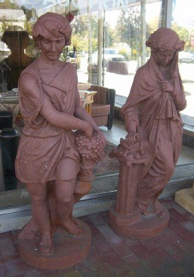 Mid 20th C. Cast Iron 4 Seasons Figural Statues