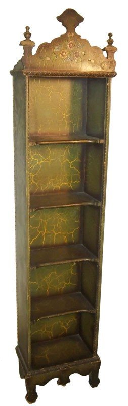 105: Ea. 20th C. small paint decorated open bookcase