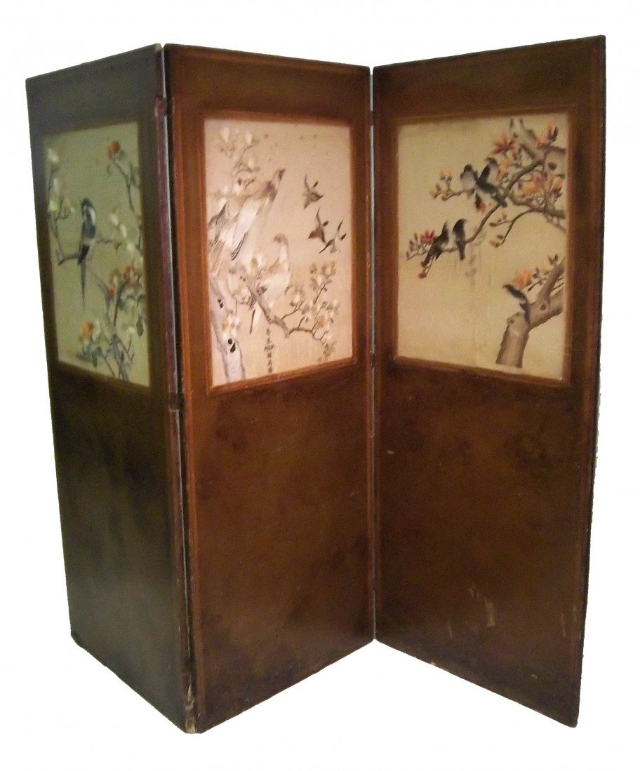 108: 19th C. signed Chinese silk 3 part screen