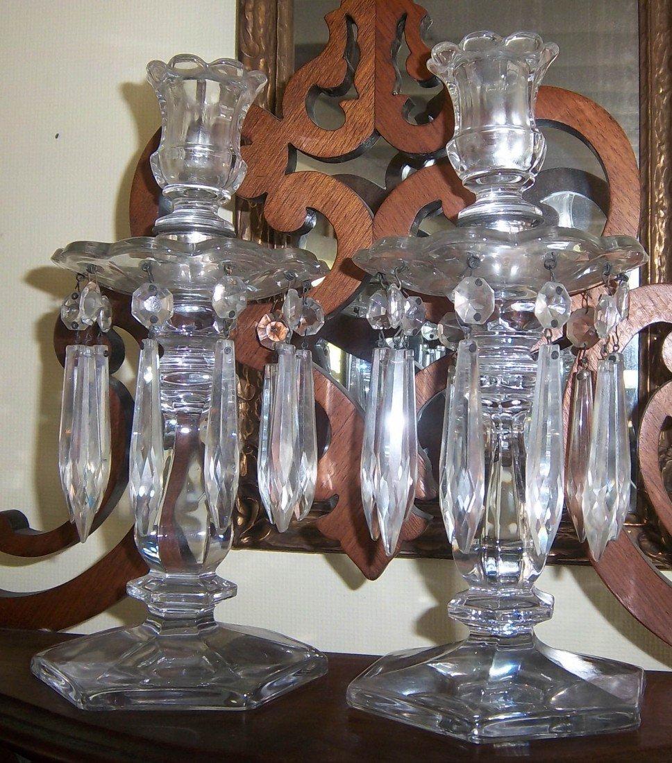 "110: Pr. 10"" Heisey glass candelabras w/prisms"