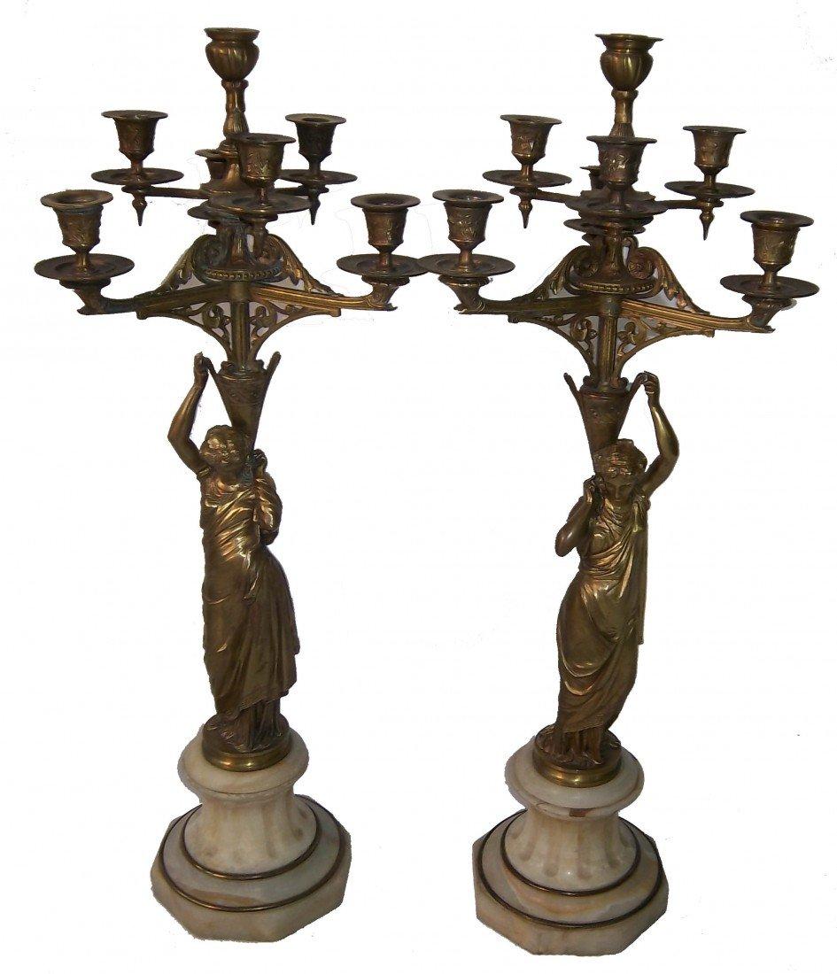 113: Pr.dore bronze figural neo-classical candelabras