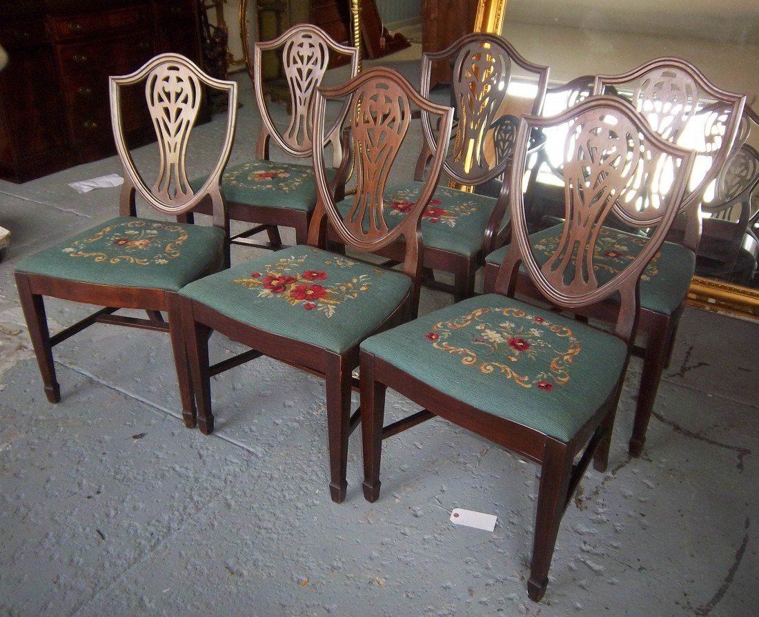 117: Set of 6 early 20th C. mahogany dining chairs